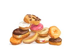 """In """"A Pile of Twisted"""", gives us the best donut cravings with her lusciously painted edition. Food Illustrations, Illustration Art, Giant Donut, Pigs In A Blanket, Holographic Nail Polish, Wayne Thiebaud, Love Eat, Time Art, Food For Thought"""
