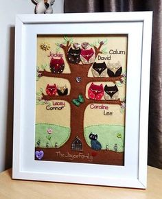Hand-Stitched Bespoke Owl Family Trees, Embroidery, Framed & Unique to you £60.00
