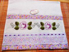 Toalha de Lavabo-Rosas lilás-Ref.052