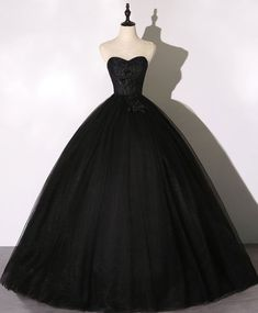 Elegant black sweetheart neck tulle long prom dress black evening dress Puffy Wedding Dresses, Puffy Dresses, Quince Dresses, Sweet 16 Dresses, Ball Gown Dresses, Bridal Dresses, Prom Gowns, Black Evening Dresses, Black Wedding Dresses