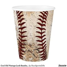 Cool Old Vintage Looking Baseball Paper Cups. CLICK: https://www.zazzle.com/z/ojsik?rf=238012603407381242 Add to your vintage baseball themed party decorations and baseball party supplies. We have matching baseball birthday party paper plates and cups, napkins, banners and so much MORE HERE: https://www.zazzle.com/yoursportsgifts/gifts?cg=196287291800049169 CALL Zazzle Designers Rod and Linda: 239-949-90909