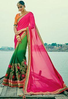 Scintillating Shaded Green and Rani Pink Saree