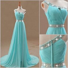 Tiffany Blue Homecoming DressAline Floorlength Prom by HillMake Pretty Prom Dresses, Blue Wedding Dresses, Cute Dresses, Beautiful Dresses, School Dance Dresses, Grad Dresses, Formal Dresses, Vestidos Tiffany, Blue Party Dress