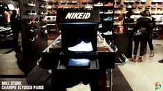 Nike Store Paris - Augmented Reality Projection on LunarEpic, AirMax, Cortez by SmartPixels for NIKEiD customization corner Projection Mapping, Nike Store, Nike Id, Champs Elysees, Arcade Games, Paris, Retail, Technology, Tech