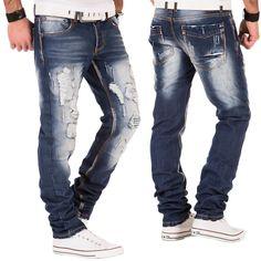 Japan Style Justing Herren Jeans Hose Destroyed Clubwear Denim Chino Blau Used