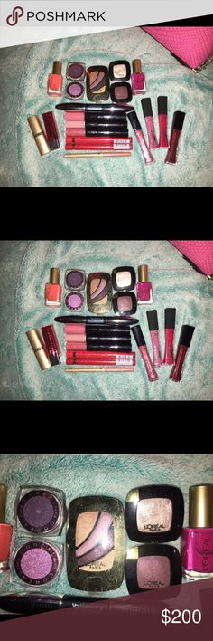 L'Oreal Paris Cosmetics bundle Bundle of brand new L'Oréal Paris Cosmetics. Includes: Colour Rich 525 Perfume ID eyeshadow quad; singles in 207 (cream) & deep purple; cream shadows in dark purple & medium purple; Voluminous Superstar waterproof mascara; 2 infallible sparkly + 2 pro matte gloss; lipliner; Ballet Slippers Colour Rich lipstick; bright red Le Matte + La Laque skinny lipstick; 3 infallible Pro-Last 2 step lip color in 213, 111 & 110. Offers are welcome! 🙂 retail value is close…