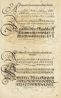 The Proper Art of Writing: a compilation of all sorts of capital or initial letters of German, Latin and Italian fonts from different masters of the noble art of writing. How To Write Calligraphy, Calligraphy Handwriting, Script Lettering, Lettering Styles, Calligraphy Letters, Penmanship, Typography Letters, Caligraphy, Cursive