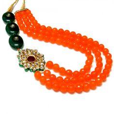 Bright Orange Multistrand Necklace