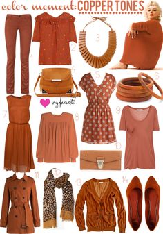 COLOR MOMENT: COPPER Love how tones work together - don't worry about matching they all look fabulous color palette Soft Autumn Deep, Warm Autumn, Autumn Look, Capsule Wardrobe, Fall Wardrobe, Fashion Colours, Colorful Fashion, Mode Outfits, Fall Outfits
