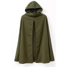 Yoins Hooded Cape in Army Green ($35) ❤ liked on Polyvore featuring outerwear, black, hooded cape, cape coat and hooded cape coat