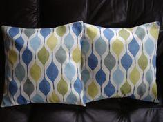 Decorative pillows teal blue green yellow geometric shapes design cushion shams UK designer fabric  Two 18 inch. $40.00, via Etsy.