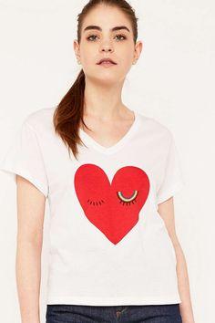 """Sonia by Sonia Rykiel – T-Shirt """"Heart"""" in Weiß mit V-Ausschnitt"""