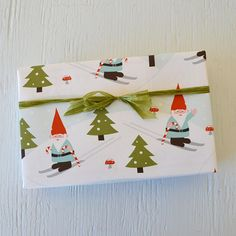 2 sheets WINTER GNOMES fine paper, 19 x 26 inches, holiday gift wrap, Christmas wrapping paper, holiday packaging