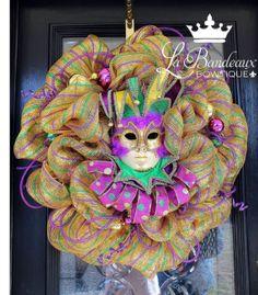 Spectacular Golden Mardi Gras Carnival Wreath with Jester Mask Center, Poly Deco Mesh Door Wreath