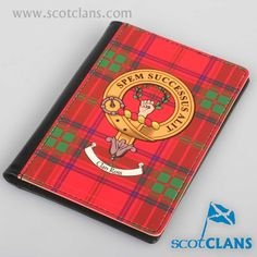 Ross Clan Crest and Tartan Passport Cover. Free worldwide shipping available