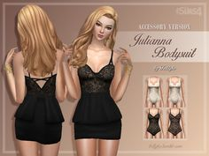 A sexy, lace bodysuit, which comes in white and black colours. Both colours have two options: a version with nude base (not see-through) and a version with 80% see-through. Your sim can wear it in...
