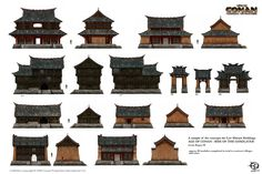 A selection of production concepts for the creation of in-game assets and objects (buildings, vehicles