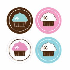 Cupcake Party Decorative Mini Stickers (Set of 32)