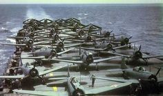 USS Enterprise (CV-6): U.S. Navy Douglas SBD-2 Dauntless dive bombers and Douglas TBD-1 Devastator torpedo bombers (aft) on the flight deck of the aircraft carrier USS Enterprise (CV-6) in early 1942.
