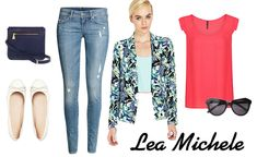 Pink blazer, navy tee, light skinnies, beige flats