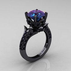Classic French 14K Black Gold 3.0 Ct Chrysoberyl Alexandrite Black Diamond Solitaire Wedding Ring R401-14KBGBDAL