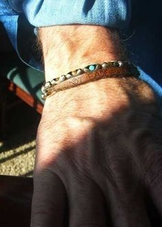 Mens Cuff IWILD COCHISEI w Sterling Silver and Tiger EyeITurquoise, Mens Leather Bracelet, Leather Bangle. $117.00, via Etsy.