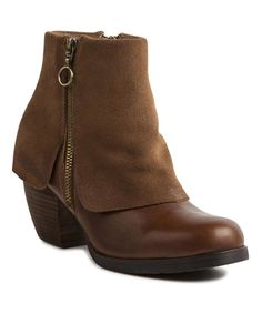 Take a look at this Taupe Fold-Over Leather Bootie today!