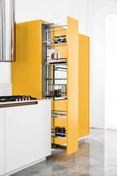 Lacquered kitchen ARCHEA I. by Polaris Life. Yellow kitchen pull out cabinet