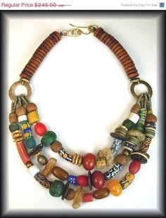 ZAIRE - Handmade African Beads - Tibetan Beads - Indian Coins Statement Necklace