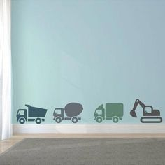 Muurstickers Voertuigen Kleur naar keuze #HabitacionesparaNiñas Boys Car Bedroom, Car Themed Bedrooms, Baby Boy Rooms, Bedroom Themes, Baby Room, Construction Bedroom, Girl Bedroom Designs, Kids Corner, Kidsroom