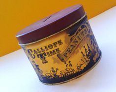 """Vintage J.L Clark Tin With Calliope Time Peanuts Advertising/ Coin Bank $26.00 