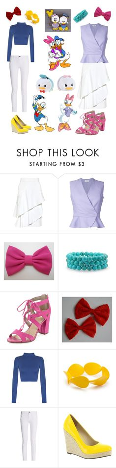 """""""Donald and Daisy Duck"""" by fandom-fashion-lover ❤ liked on Polyvore featuring Marissa Webb, Carven, Circus by Sam Edelman, WearAll, Kim Rogers, rag & bone, Michael Antonio and Disney"""