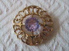 Vintage Amethyst Brooch Art Glass Pin by NorthShoreAntiques