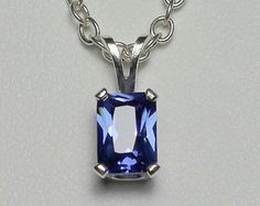 Genuine Tanzanite Necklace Sterling Silver Tanzanite by TSNjewelry