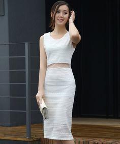 EC07577 Korean style hollow sexy summer crochet lace long dress