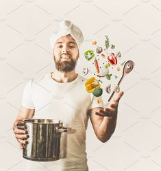 Cook with pan and flying vegetables by VICUSCHKA on @creativemarket