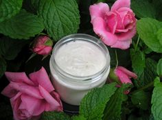 Recipe for luxuriously creamy body butter moisturizer, non greasy, just lovely. I made mine with peppermint leaves steeped in rosewater!