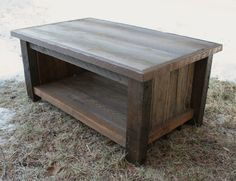 Rustic Reclaimed Coffee Table Dark Top by EchoPeakDesign on Etsy, $350.00