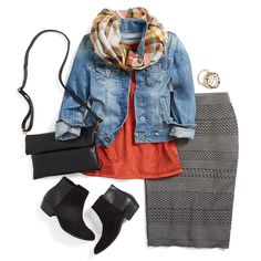 It's sweater (skirt) weather. Easily incorporate texture into your day-to-day wardrobe with a knit pencil skirt. Pair it with a denim jacket, a plaid scarf and booties for a casual fall look that can go from work to weekend.