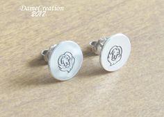 Lion Stud Earrings - Lion Jewelry - Animal Jewelry - Silver Disc Earrings - Tiny Stud Earrings - Leo Earrings - Zoo Earrings by DameCreation on Etsy