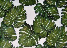 Ohana Cream Tropical Hawaiian Monstera Leaves on a fleece fabric.  BarkclothHawaii.com