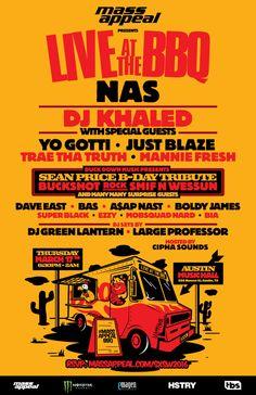 Mass Appeal Presents: Live At The BBQ | Featuring Nas, DJ Khaled, many more | Thursday, March 17, 2016 | 6:30pm-2am | Austin Music Hall: 208 Nueces St., Austin, TX 78701 | Free with RSVP: https://massappealsxsw2016.splashthat.com/