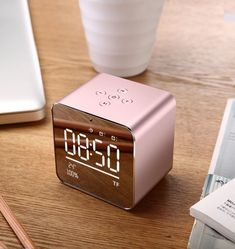 Digital Alarm Clock with Wireless Bluetooth Speaker,Stereo Sound Music Player,Te… Digital Alarm Clock with Wireless Bluetooth Speaker,Stereo Sound Music Player,Temperature/LED Light Dimmable/Aux Input/TF Card(Rose Gold):. Rose Gold Room Decor, Rose Gold Rooms, Gold Bedroom Decor, Deco Rose, Cute Room Decor, Home Gadgets, Tech Gadgets, Aesthetic Room Decor, Room Ideas Bedroom