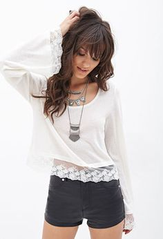 Floral Lace Knit Top | FOREVER21 - 2000138410
