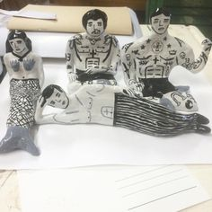 """Morning gang in messy studio #mess #gang #sleepy #needabreak #morning #ceramic #illustration #ink #lad #mermaid"""
