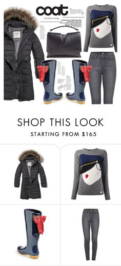 """stay fly and dry."" by mercimasada ❤ liked on Polyvore featuring Abercrombie & Fitch, Love Moschino, Joules, Paige Denim, Jil Sander, casual, rainydays, rain, puffers and puffcoat"