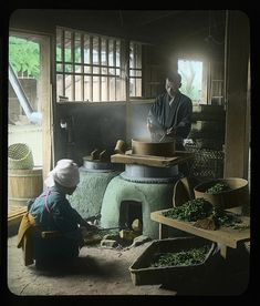 """Drying Tea by Okinawa Soba, via Flickr.  It's about 110 years old.    A difficult lighting situation to say the least.    He had no flash, but got the exposure just right, hitting on a nice balance using the available light coming through the windows and door. Not bad ! Notice the steam coming off the tea leaves being """"dry stirred"""" on the stove.    From a Sample Set of Classic Meiji and Taisho-era Japan Stereoview and Lantern-Slide images by Japanese Photographer T. ENAMI (1859-1929)."""