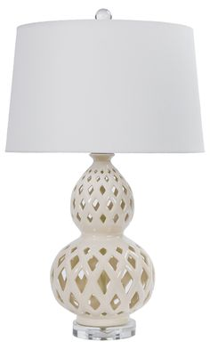 Ceramic Cut Gourd Table Lamp, Cream | One Kings Lane