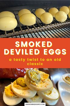 Want to wow your guests at the next BBQ? Learn how to cook these super tasty smoked deviled eggs that are packed with spice and smoky flavor. Smoker Grill Recipes, Grilling Recipes, Smoked Eggs, Barbecue Side Dishes, Hot Appetizers, Bbq Meat, How To Cook Eggs, How To Make Salad, Deviled Eggs