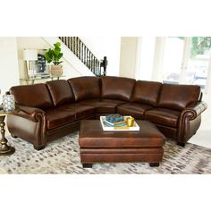 Phenomenal Austin Top Grain Leather Sectional With Ottoman In 2019 Machost Co Dining Chair Design Ideas Machostcouk
